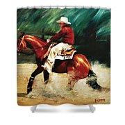 Tk Enterprise Sliding Stop Reining Horse Portrait Painting Shower Curtain