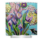 Pink Floral On Blue Shower Curtain