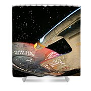 To Boldly Go Shower Curtain by Kristin Elmquist
