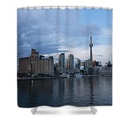 T O Harbour In Blue Shower Curtain