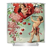 To My Valentine Vintage Romantic Greetings Shower Curtain