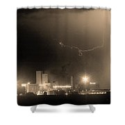 To The Right Budweiser Lightning Strike Sepia  Shower Curtain