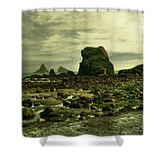 To Walk Alone Along Rocky Shores Shower Curtain