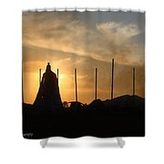Tobacco Barn Fire II Silhouette Shower Curtain