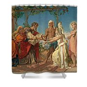 Tobias Brings His Bride Sarah To The House Of His Father Tobit Shower Curtain