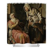 Tobit And Anna With The Kid Shower Curtain