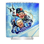Toboggan Terrors Shower Curtain