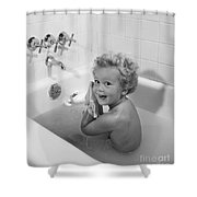 Toddler In Bath, 1950s Shower Curtain