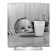 Toddler Reaching For Glass Of Milk Shower Curtain