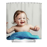 Toddler With A Cozy Blanket Sitting And Smiling. Shower Curtain