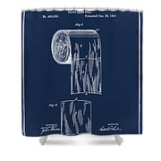 Toilet Paper Roll Patent 1891 Blue Shower Curtain