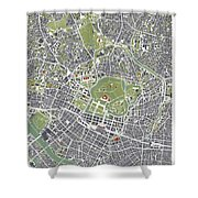 Tokyo City Map Engraving Shower Curtain