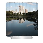 Tokyo Highrises With Garden Pond Shower Curtain