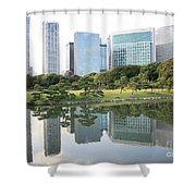 Tokyo Skyline Reflection Shower Curtain