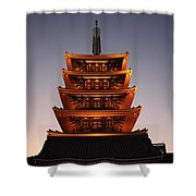 Tokyo Temple Lights Shower Curtain