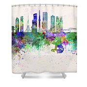 Tokyo V3 Skyline In Watercolor Background Shower Curtain