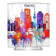 Tokyo Watercolor Shower Curtain