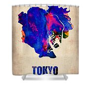 Tokyo Watercolor Map 2 Shower Curtain
