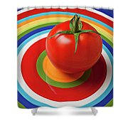 Tomato On Plate With Circles Shower Curtain by Garry Gay