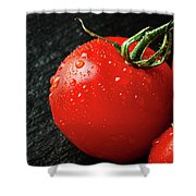 Tomatoes Close Up On Black Slate Shower Curtain