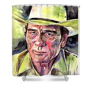 Tommy Lee Jones Portrait Watercolor Shower Curtain