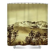 Toned View Of A Snowy Mount Gell, Tasmania Shower Curtain