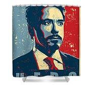 Tony Stark Shower Curtain by Caio Caldas