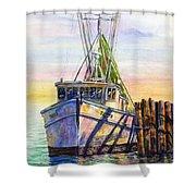 Tonyo Shrimp Boat Shower Curtain