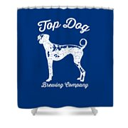 Top Dog Brewing Company Tee White Ink Shower Curtain