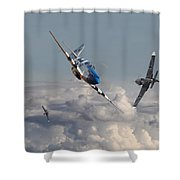 Top Gun - 1944 Version - P51 V Bf109g Shower Curtain