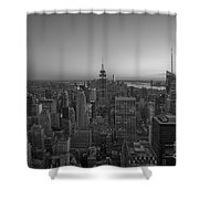 Top Of The Rock At Sunset Bw Shower Curtain