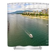 Top View Of English Bay In Summer, Vancouver Bc. Shower Curtain