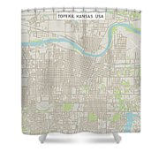 Topeka Kansas Us City Street Map Shower Curtain