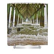 Topsail Island Pier Shower Curtain