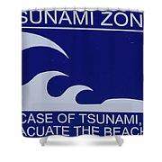 Topsail Island's Tsunami Zone Sign Shower Curtain