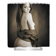 Toriwaits Nude Fine Art Print Photograph In Black And White 5104 Shower Curtain