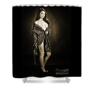 Toriwaits Nude Fine Art Print Photograph In Black And White 5105 Shower Curtain