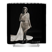 Toriwaits Nude Fine Art Print Photograph In Black And White 5118 Shower Curtain