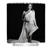 Toriwaits Nude Fine Art Print Photograph In Black And White 5119 Shower Curtain