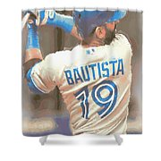Toronto Blue Jays Jose Bautista 2 Shower Curtain