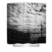 Toronto Morning Black And White Shower Curtain