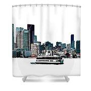Toronto Portlands Skyline With Island Ferry Shower Curtain