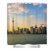 Toronto Skyline At Sunset Shower Curtain