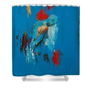 Torso In Blue Shower Curtain