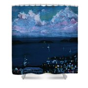 Tortola Clouds At Hill Top Shower Curtain