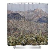 Tortolita Mountains Snowy Sunrise Shower Curtain