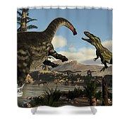 Torvosaurus And Apatosaurus Dinosaurs Fighting - 3d Render Shower Curtain