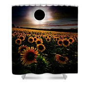 Total Eclipse Over The Sunflower Field Shower Curtain