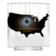 Total Solar Eclipse In United States Map Outline Shower Curtain