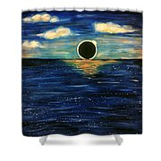 Totality On The Sea - Solar Eclipse  Shower Curtain